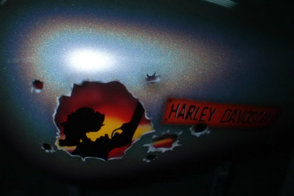 Custombike Harley Tank Airbrush Metal Flakes Oldschool